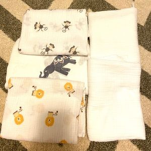 ADEN & ANAIS Muslin Baby Blanket Lot 5 swaddle
